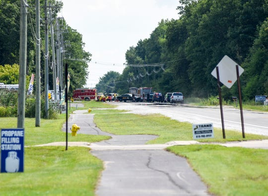 Emergency crews are on the scene of a fatal crash on King Road in China Township Monday, Aug. 13, 2018, involving a car and a truck.