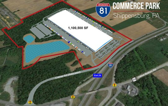 A casino is proposed for the wooded area on Cramer Road in front of a 1.1 million square foot warehouse that is being constructed off Walnut Bottom Road (Pa. 174) near Shippensburg's Interstate 81 Exit 29.