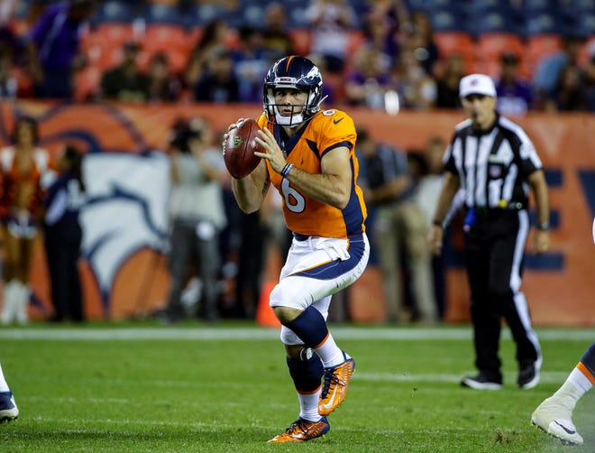Denver Broncos quarterback Chad Kelly looks to pass against the Minnesota Vikings during the second half in an NFL football preseason game Saturday, Aug. 11, 2018, in Denver. (AP Photo/Jack Dempsey)