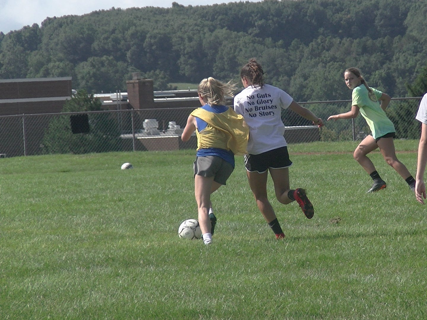 Susquehannock girls' soccer players compete for the ball during a scrimmage on Monday.
