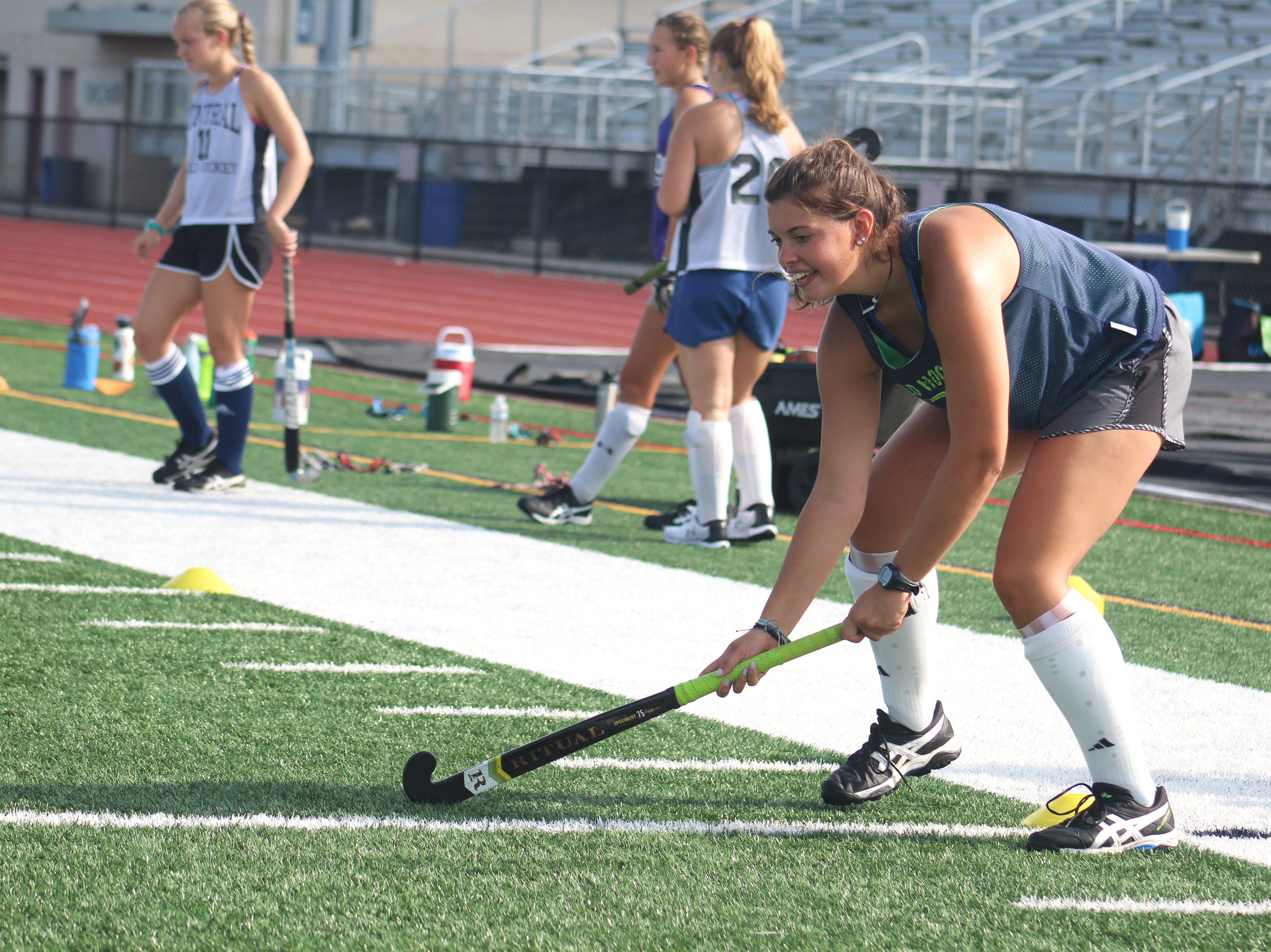A Central York High School field hockey player prepares to receive a pass on August 13, 2018.