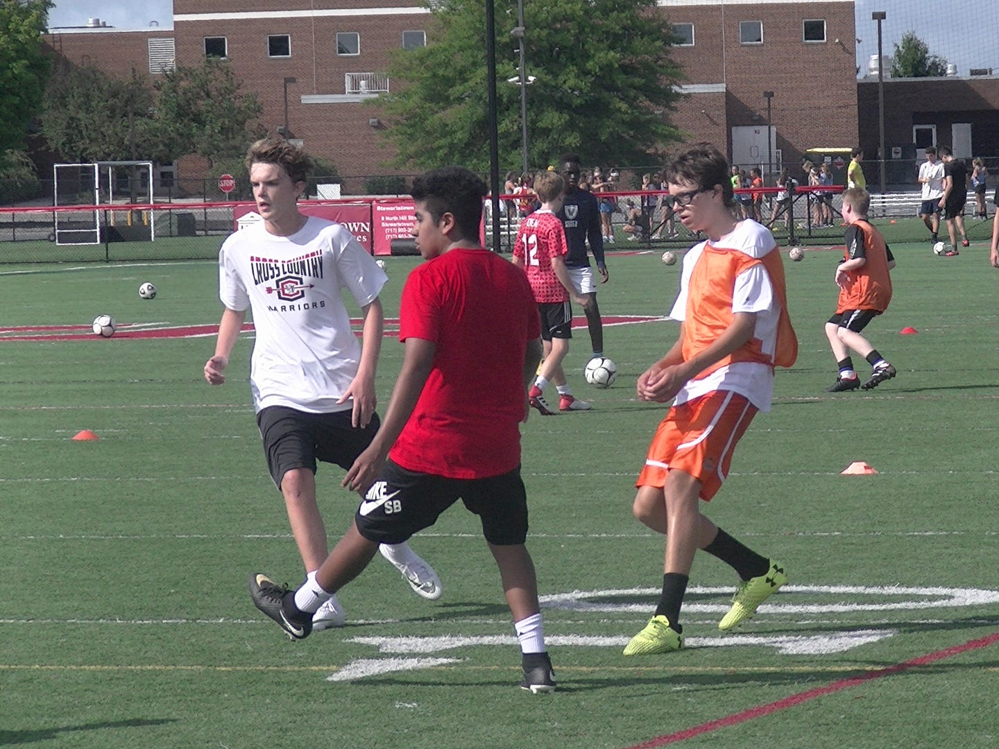 Susquehannock boys' soccer players practice during the first day of fall practice Monday.