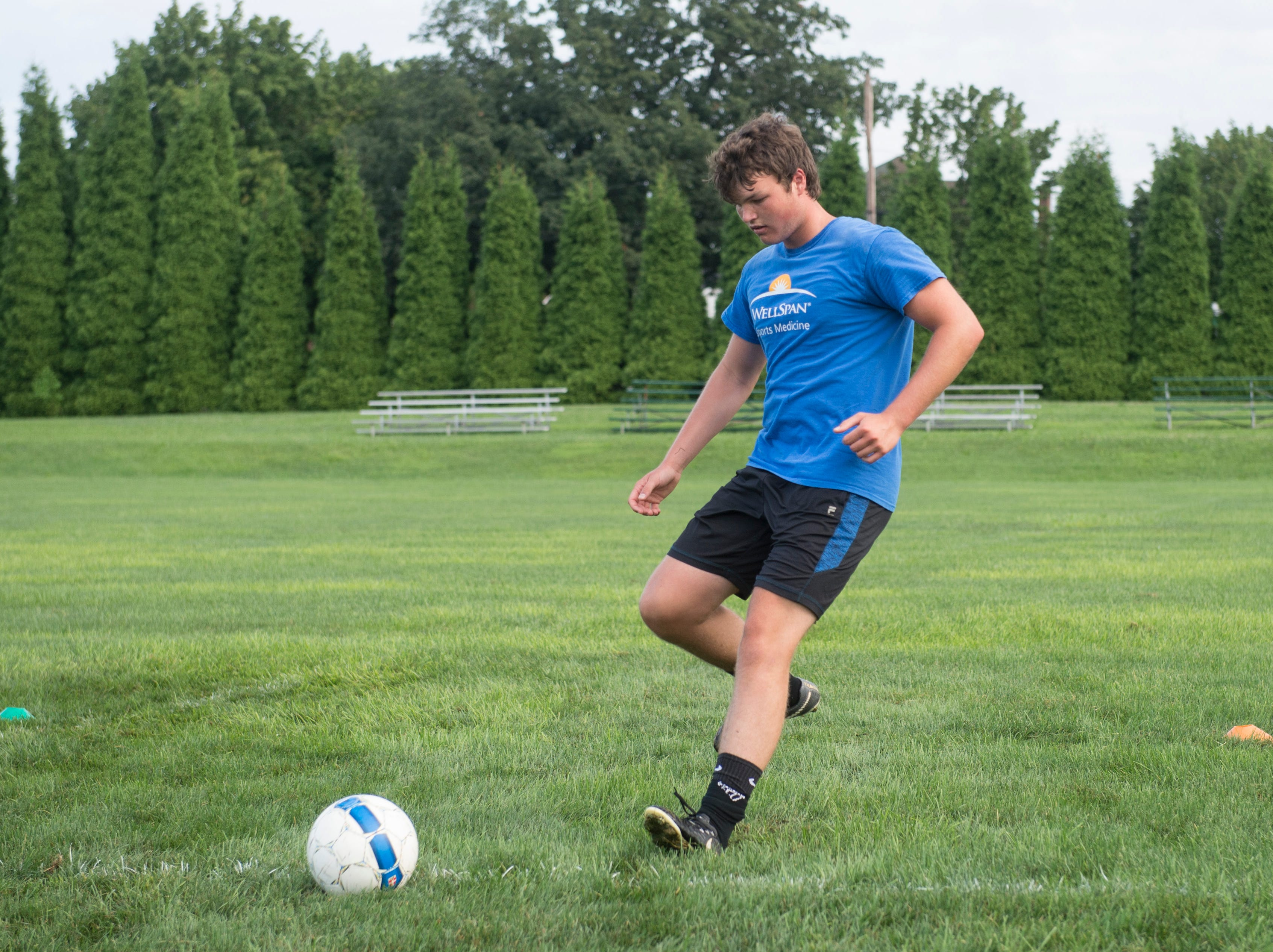 Although rain threatened early in the practice, York Catholic boys' soccer was able to get on the field early on August 13, 2018.
