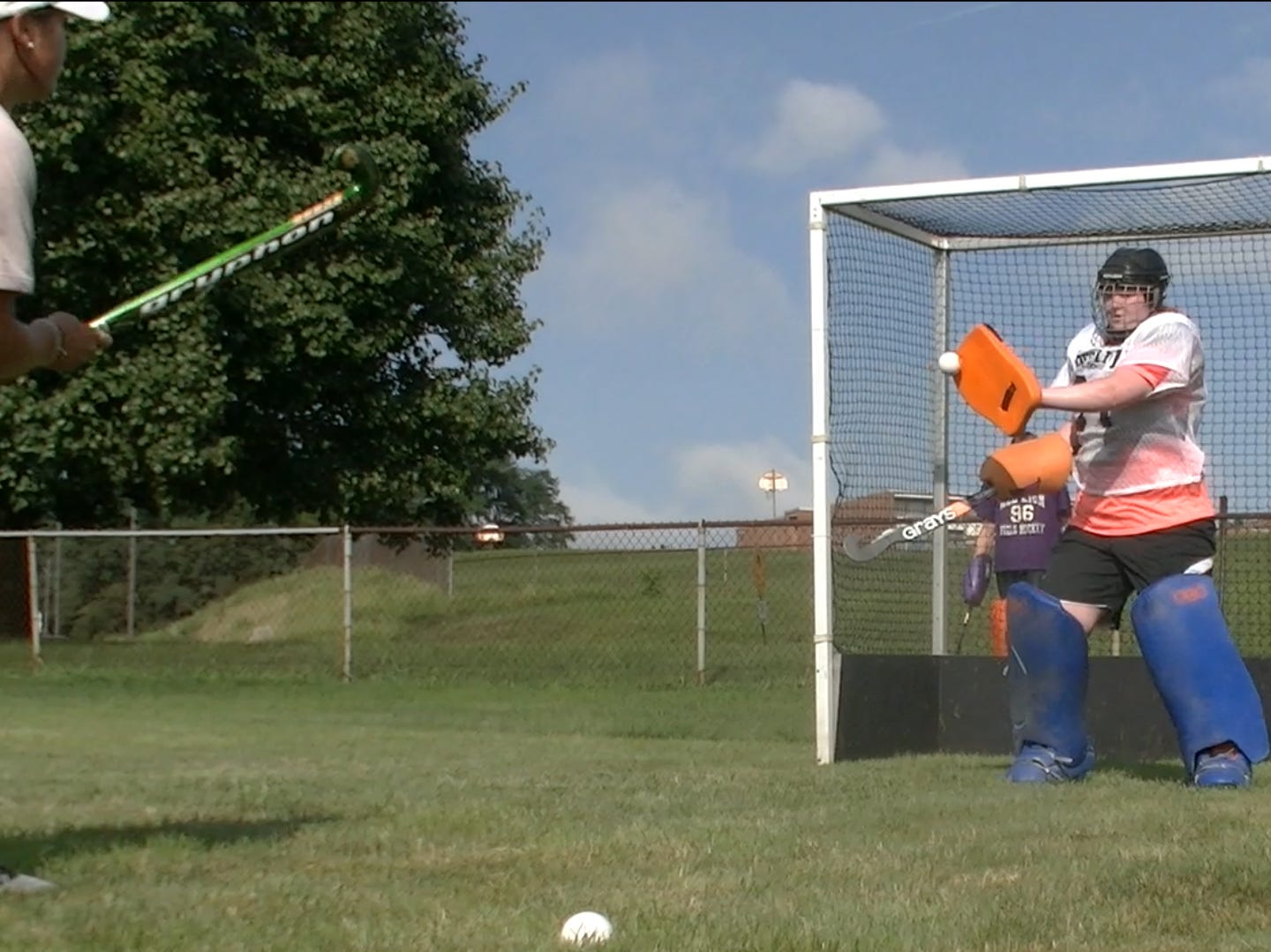 Red Lion's field hockey goalies block shots during the first day of fall sports practice Monday, Aug. 13, 2018.