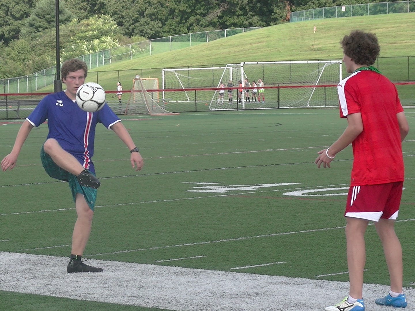 A Susquehannock boys' soccer player juggles the ball during the first day of fall practice on Monday.