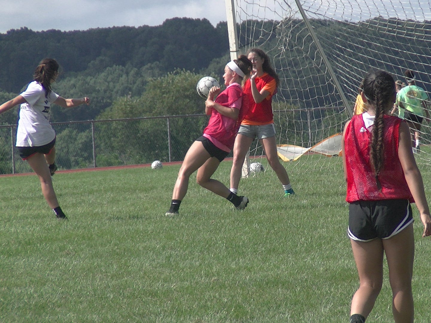 A Susquehannock girls' soccer player takes a shot on net during the first day of fall practice Monday.