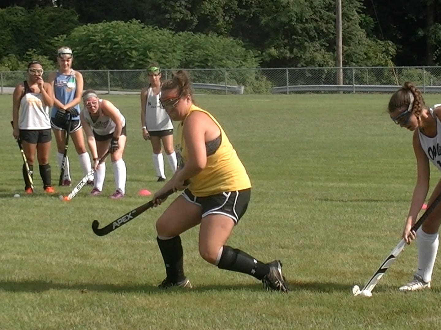Members of Red Lion's field hockey team conduct drills during the first day of fall sports practice Monday, Aug. 13, 2018.