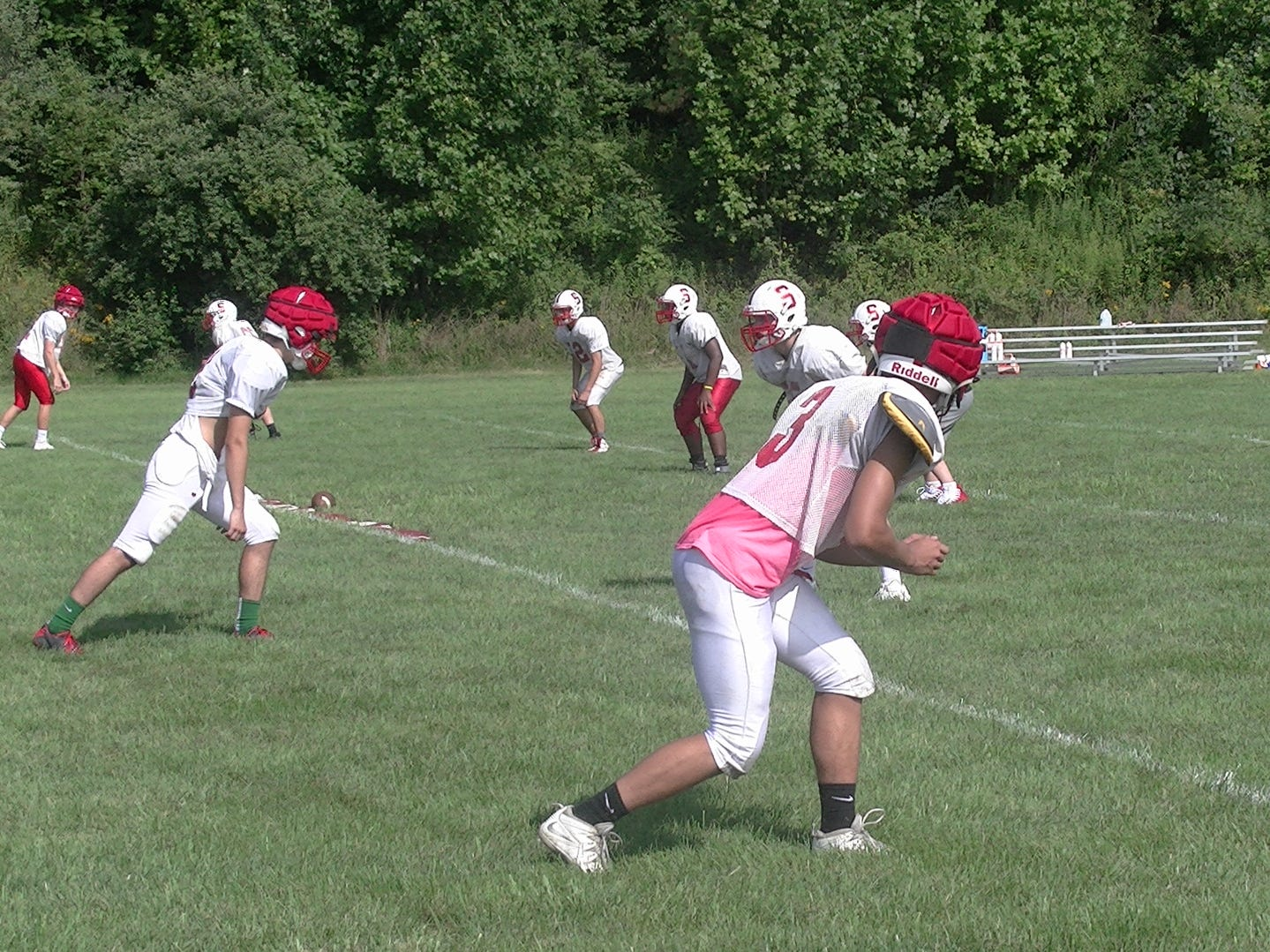 Susquehannock wide receivers line up for a drill during practice Monday.