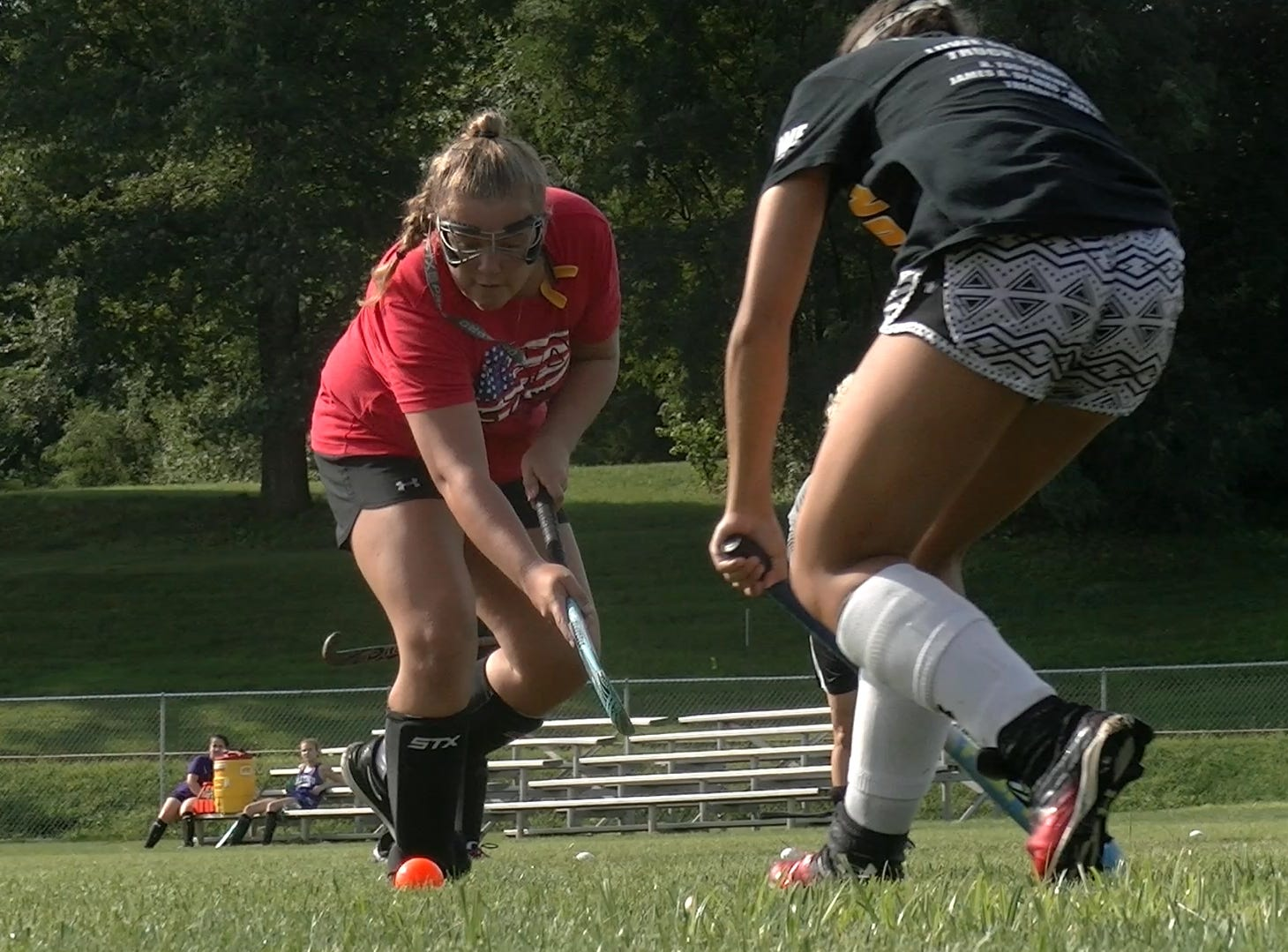 Red Lion field hockey players conduct drills during the first day of fall sports practice Monday, Aug. 13, 2018.