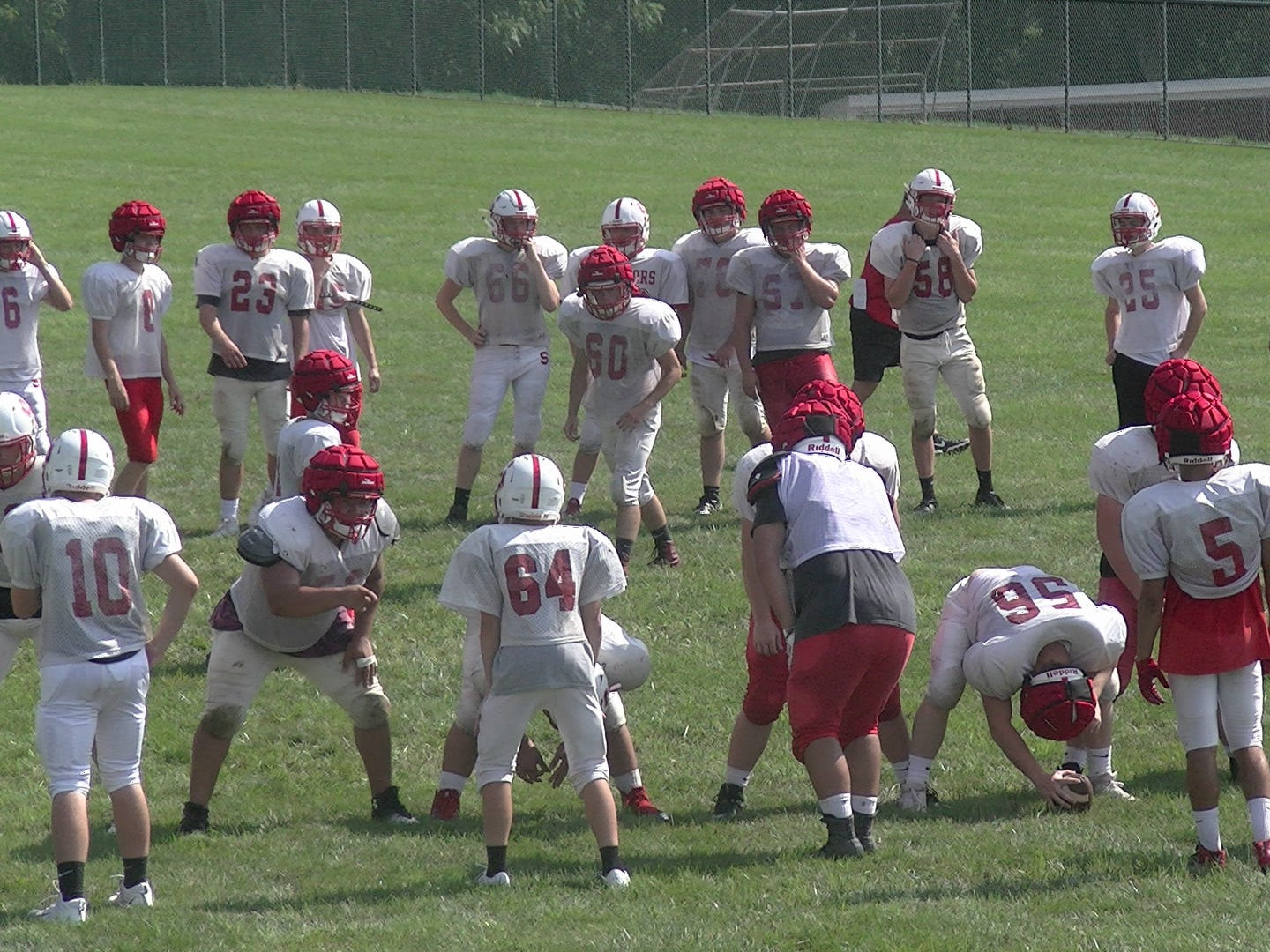 The Susquehannock football team practices kicking field goals during practice Monday.