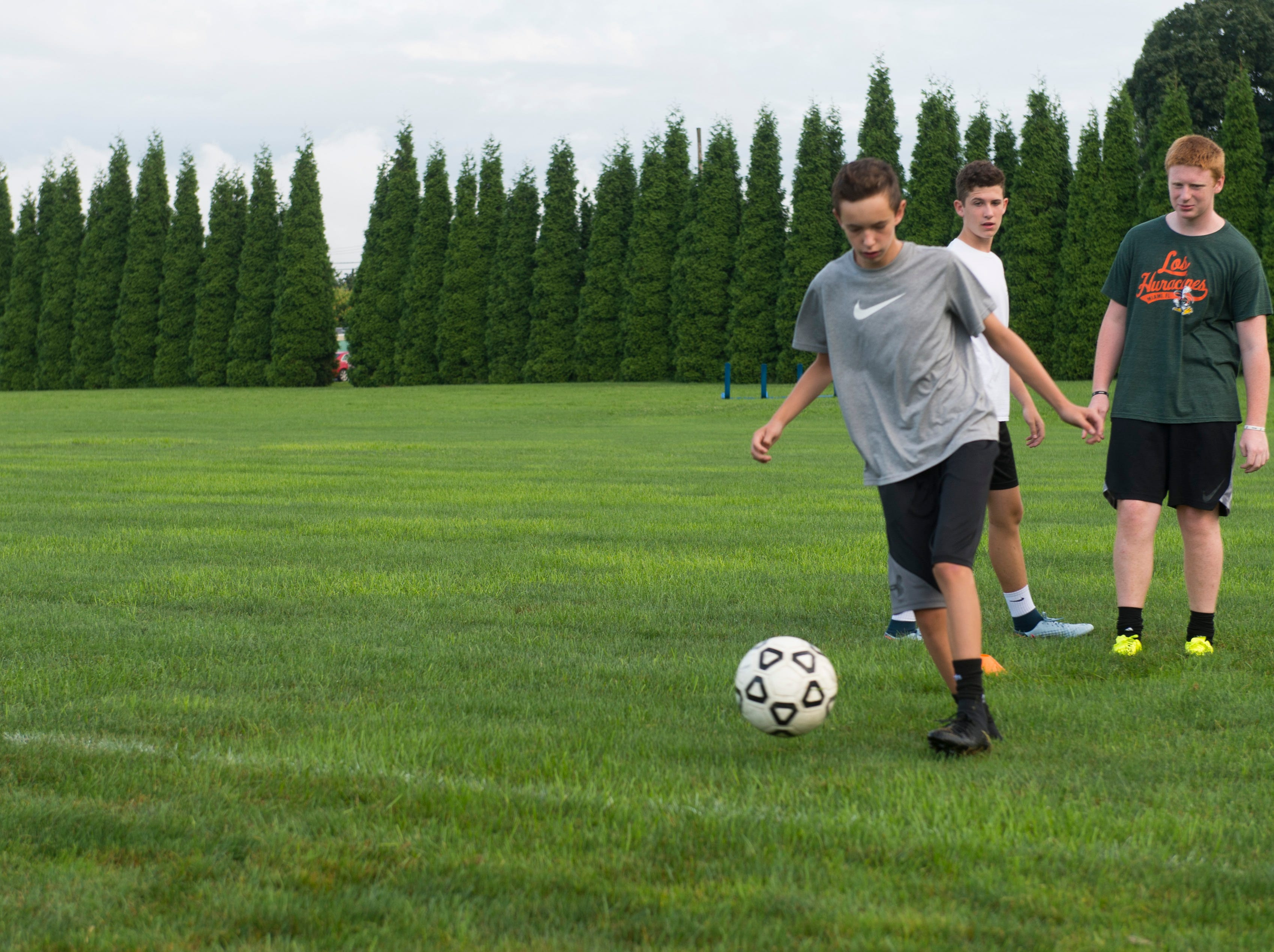 York Catholic boys' soccer has its first practice in the 2018 season on August 13, 2018.