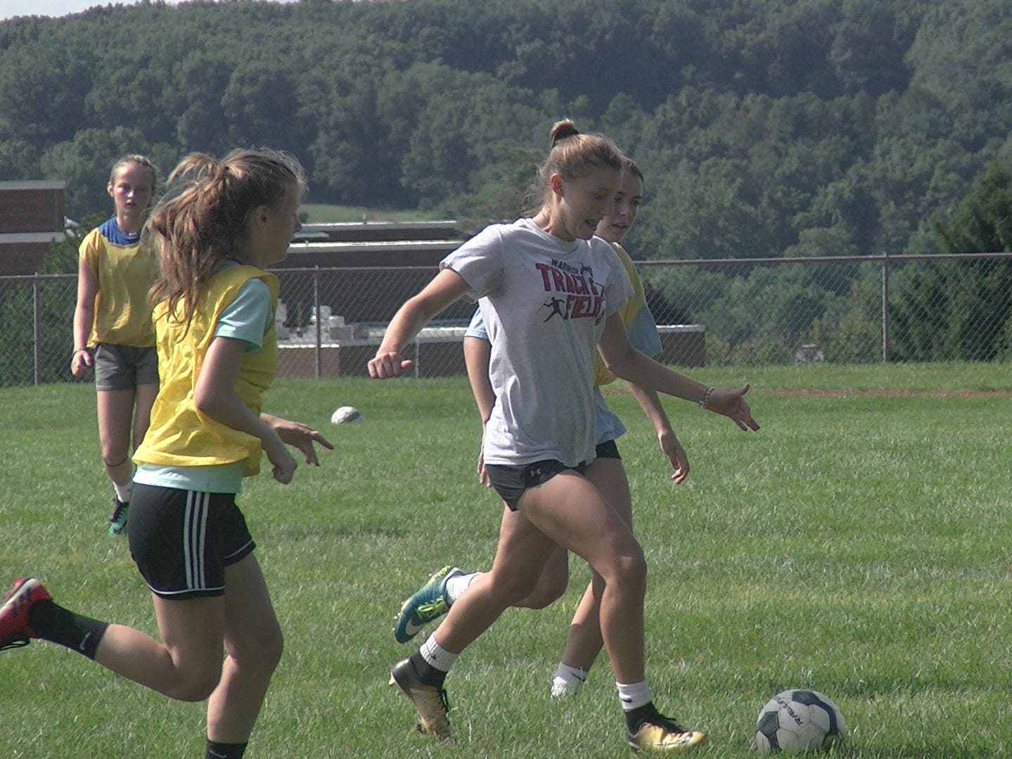 Susquehannock girls' soccer players scrimmage during the first day of fall practice Monday.