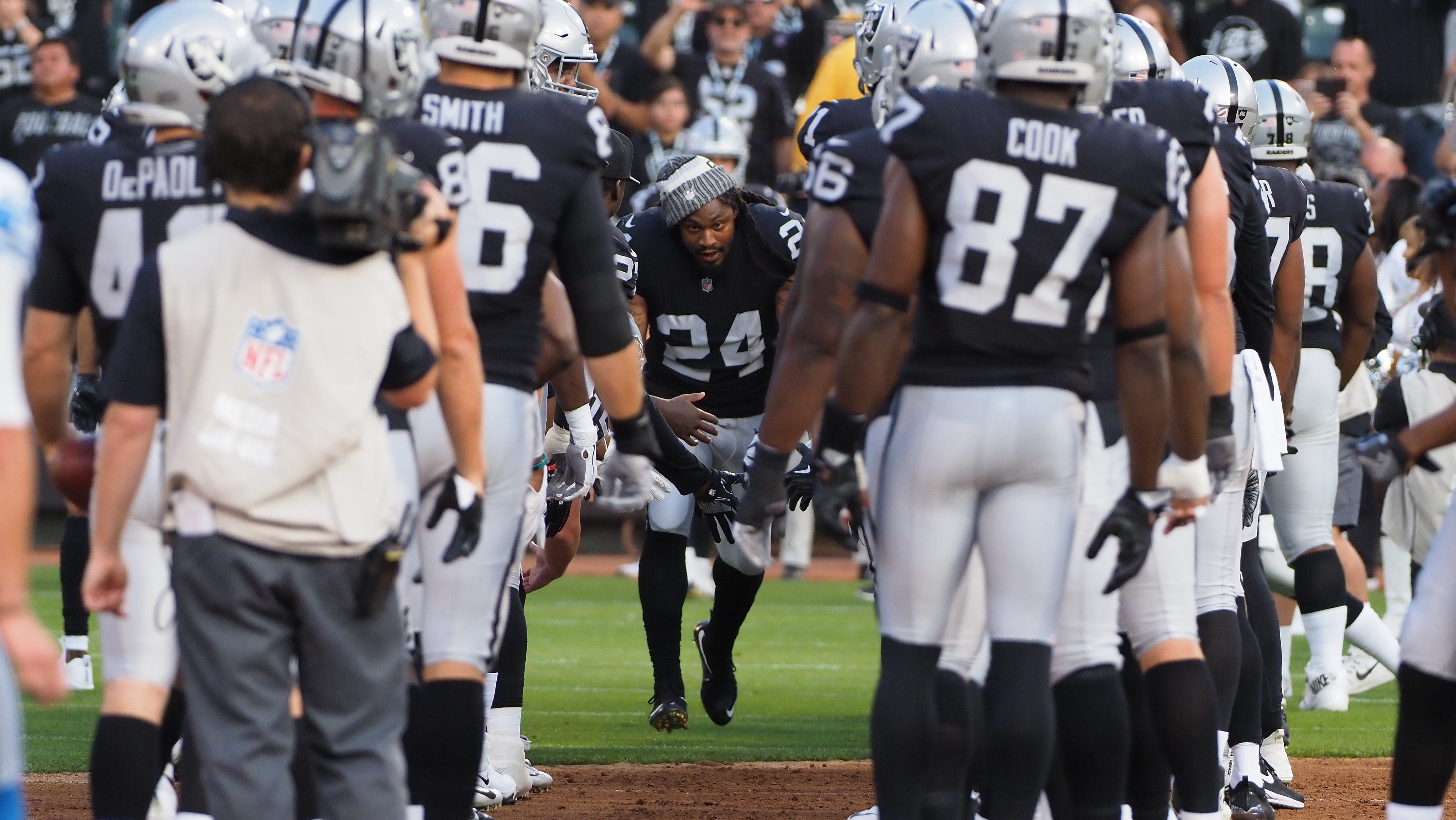Raiders running back Marshawn Lynch is introduced before a game against the Detroit Lions at Oakland Coliseum.