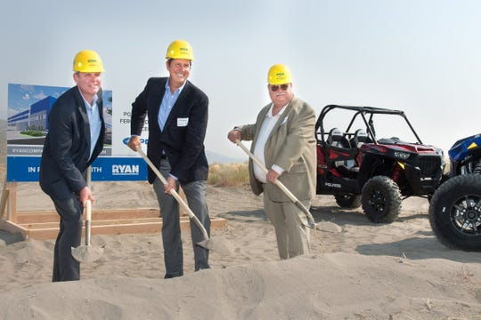(From left) Todd Schell, Ryan Vice President of Industrial, Steve Eastman, Polaris President of Aftermarket, Parts, Garments & Accessories and Roy Edgington Jr., Fernley Mayor,  break ground for Polaris' new distribution facility.