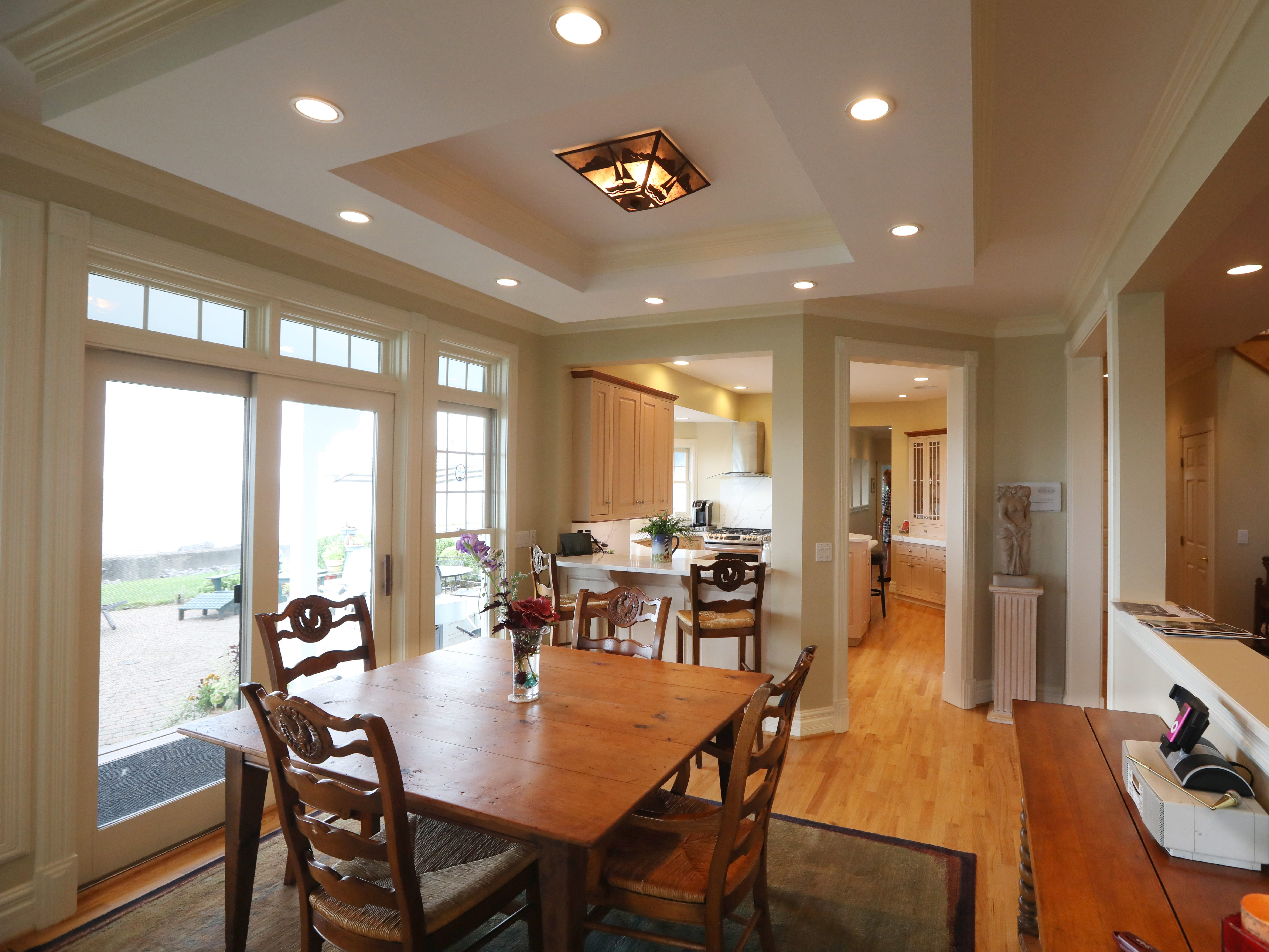 A more casual dining area alongside the kitchen on the first floor.  The house features 12 total rooms, adding up to 4,557 square feet.
