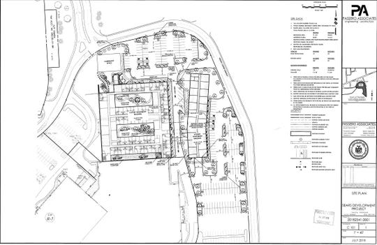 A site plan for a proposed senior housing development on the former Sears site at Medley Centre mall.