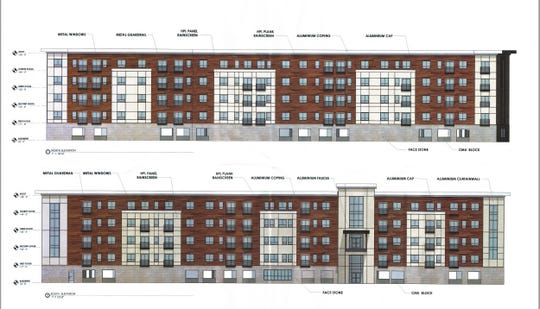 A five-story building proposed as part of a senior housing development on the former Sears site at Medley Centre mall.
