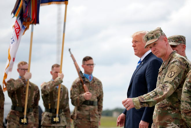 President Donald Trump arrives on Air Force One at Wheeler-Sack Army Air Field in Fort Drum, N.Y., Monday, Aug. 13, 2018.