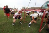 A quick peek into the first day of football practice at Hilton High School.
