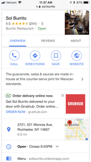 A Grubhub ad appears in the middle of the Sol Burrito search page on Google.