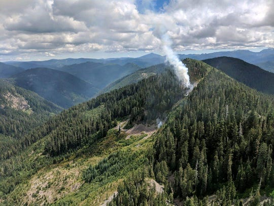 The Byars Fire burns in the Willamette National Forest four miles north of Detroit.
