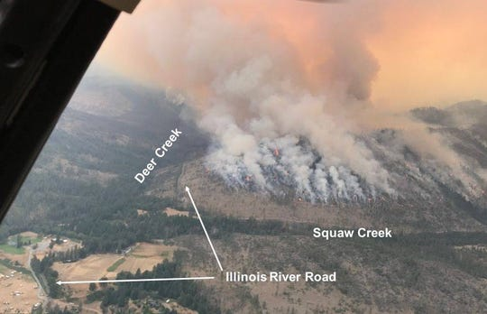 This picture shows where the Klondike Fire has spread in relation to local landmarks