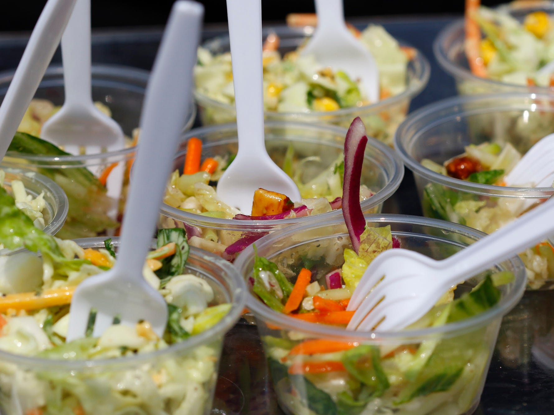 Samples of salad are pictured during the 2018 Salinas Valley Food and Wine Festival which takes place on Main Street in Old Town Salinas on Saturday, August 11, 2018.