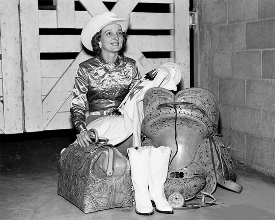 Billie McBride of San Angelo won four straight world titles in barrel racing from 1955-58. She was inducted into the ProRodeo Hall of Fame on Aug. 4, 2018.