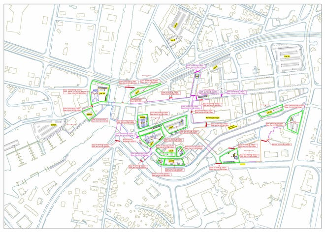 This map shows street and parking lot closures during the National Folk Festival.