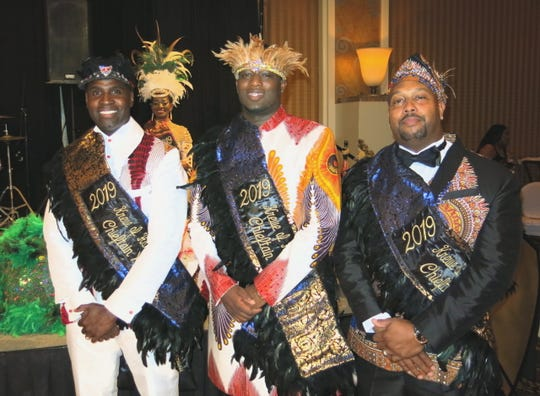 Krewe Harambee Chieftains XVII are introduced at the royalty coronation: Demetrius Early, LaTari Fleming, Orlando Edwards.