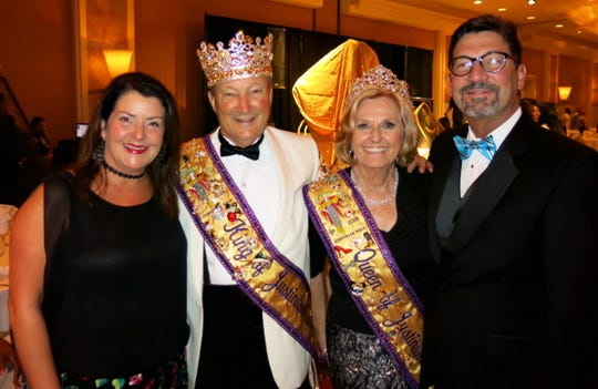 Angela Lawrence, Krewe Justinian 2018 King Billy Kelly, Queen Tracey Cox, 2019 Captain Lyn Lawrence at Krewe Harambee coronation.