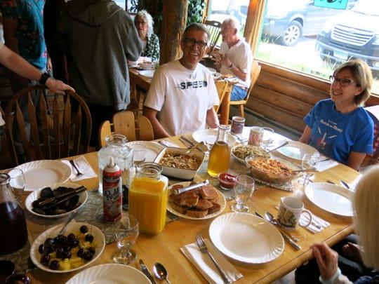 Hearty breakfast at Allenspark, Colo. Allenspark Lodge.