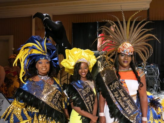 Krewe Harambee High Priestesses XVII presented at the royalty coronation: Daphne, Lott, Victoria E. White, Terika Walker.