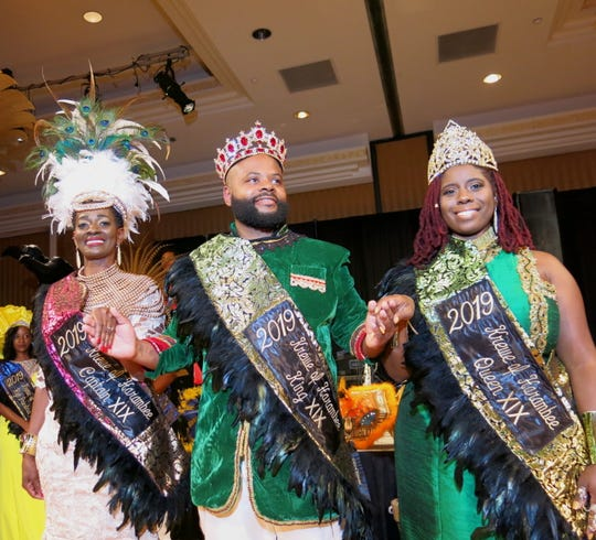 Krewe Harambee 2019 Captain Sharon Moore-Braggs, King Ryan Williams, Queen Candice  C. Cooper  are presented at Harambee's coronation.