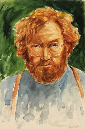 Self portrait of regional artist Carl Grupp, who has gifted 351 paintings, original prints and drawings to Augustana University.
