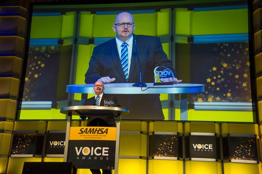 Recovering addict David Stoecker of Springfield was recognized for his work in behavioral health at the Voice Awards in Los Angeles last week.