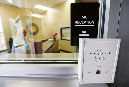 Visitors at Jeffries Elementary School must be buzzed rom a secure vestibule after talking with the main office on an intercom.