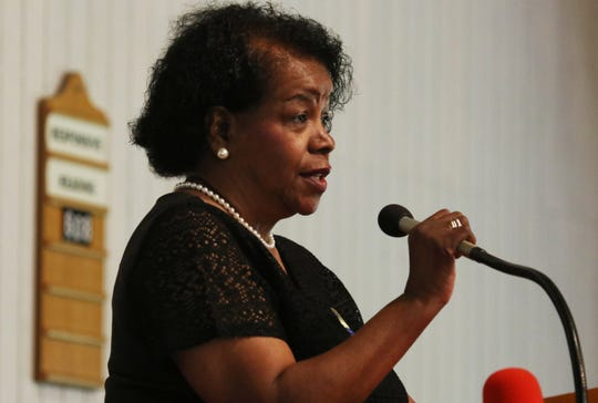 """Janette Boyd Martin, president of the Albemarle-Charlottesville NAACP closes the program """"A Time for Reflections and Healing"""" at Zion Union Baptist Church in Charlottesville on Sunday, Aug. 12, 2018."""