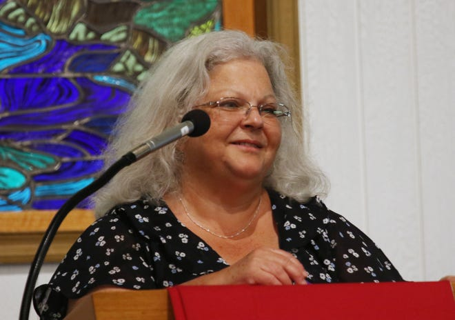 """Susan Bro, mother to Heather Heyer who was killed by a car attack, addresses the crowd at the Albemarle-Charlottesville NAACP program called """"A Time for Reflections and Healing"""" at Zion Union Baptist Church in Charlottesville on Sunday, Aug. 12, 2018, the one year anniversary of the Unite the Right rally that happended in the parks in downtown Charlottesville."""