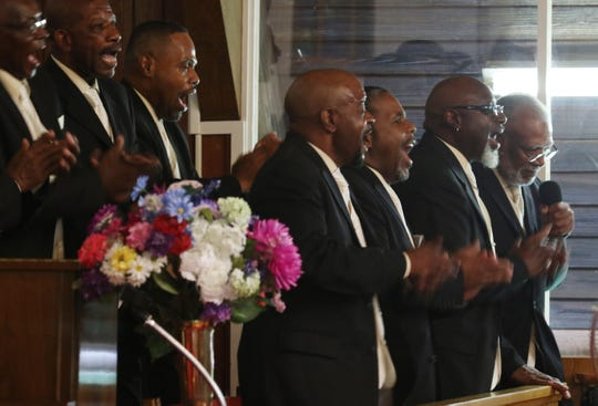 """Frist Union Baptist Church Male Chorus of Richmond sings at the Albemarle-Charlottesville NAACP program """"A Time for Reflections and Healing"""" at Zion Union Baptist Church in Charlottesville on Sunday, Aug. 12, 2018."""