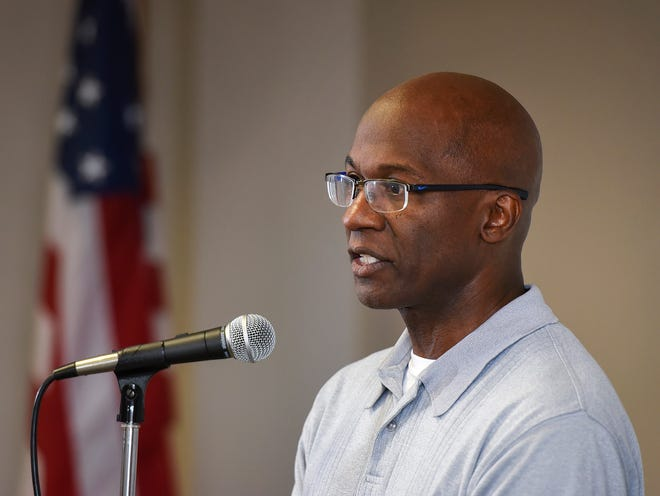 Apollo High School Principal Al Johnson talks about the fall schedule Monday, Aug. 13, where students are expected to start school on time this fall, but on a temporary schedule of alternate days.