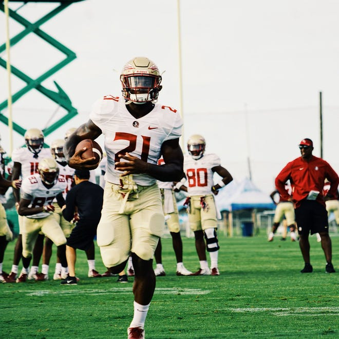 FSU running back Khalan Laborn working out at the Seminoles' first practice at IMG Academy in Bradenton, Florida.