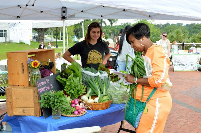 Fresh produce on display at the North Florida VegFest took place at Cascades Park.
