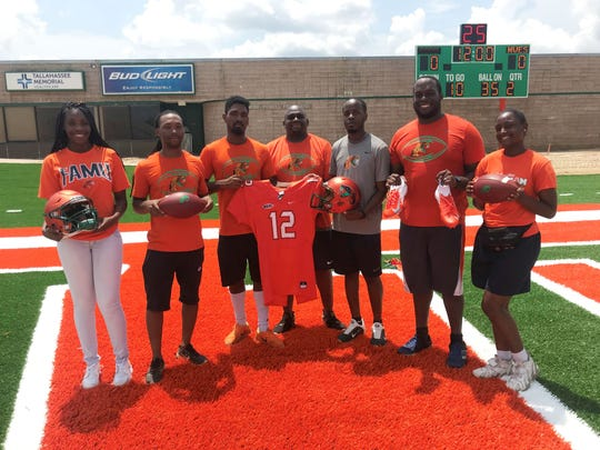 The equipment management staff from left to right: Courtney Mack, Donald Reed, Warren Lewis, Dakarai Calhoun, Brandon Randolph, Ryan Smith and Antoinette Jackson.