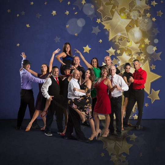 Dancers competing in the 2018 Dancing with the Martin Stars competition, from left: Mike Renfro and instructor Megan Acosta; Mike Gonzalez and instructor Jill Bogacik; Jennifer Jones and instructor Greg Deletka; instructor Bob Murray and Jaime Schwartz; Ann Rodriguez and instructor Dunsleys Valladares; Cheree Ramirez and instructor Craig Galvin, and instructor Marianella Tobar and George Gozdz.