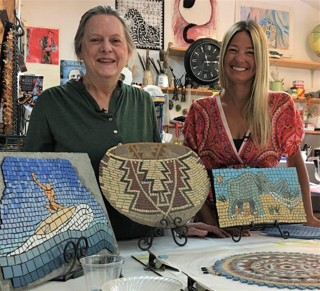 Betsy Gallery, left, and Robin Elander are creating a 50-foot long mosaic on Santa Barbara's history.