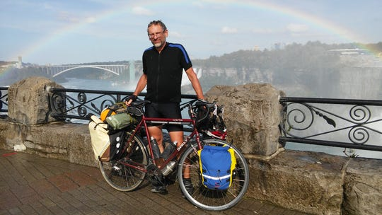 Doug Shidell, after just finishing a bicycle tour from Lake Michigan to Niagara Falls, in 2015.