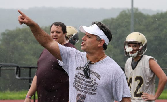 Clarkstown South football head coach Mike Scarpelli during practice Aug. 13, 2018.