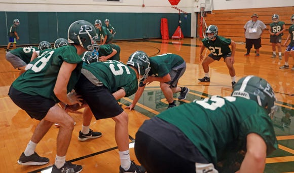 First day of football practice for Pleasantville high school on Aug.13, 2018.