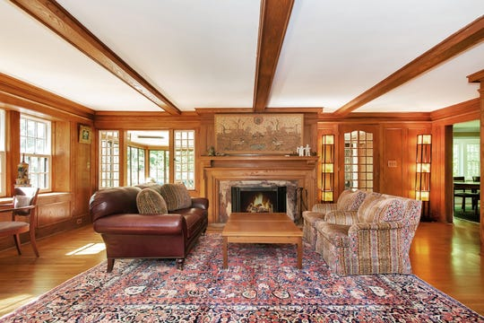 The living room in a house once reportedly owned by Ben 'Bugsy' Siegel in Edgemont. The fireplace has a chip in it that supposedly came from gun fire. Or so the story goes.